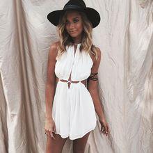 dresses 2016 women summer dress new vestidos Women casual Bohemian floral sleeveless white lace beach dress