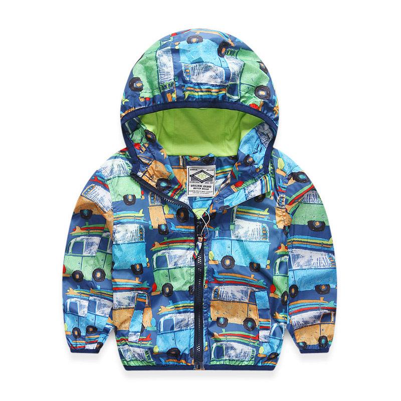 2016 Autumn New Fashion children's Windproof rain jacket kids hoodies boys casual print car jackets and coats(China (Mainland))