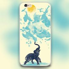 Elephant summer splash Design black skin case cover cell mobile phone cases for Apple iphone 4 4s 5 5c 5s 6 6s 6plus hard shell