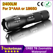 E17 CREE XM-L T6 3800Lumens cree led Torch Zoomable cree LED Flashlight Torch light For 3xAAA or 1×18650 Free shipping