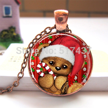 1 pc Christmas Teddy Bear Photo Pendant Necklace, Altered Art Pendant Necklace Christmas Jewelry gift for woman and girls(China (Mainland))