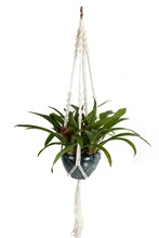 4 Leg Macrame White Linen Plant Hanger Rope With Silver Ring 48 Inches(China (Mainland))