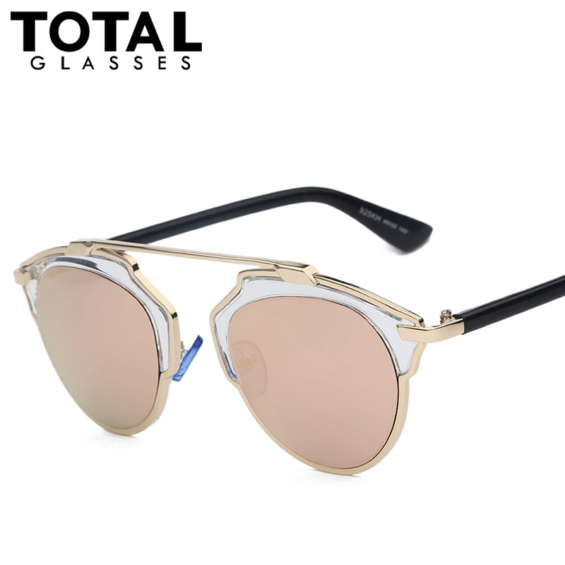 Totalglasses Gold Metal Sunglasses Women Original Brands Designer Sunglasses Fashion Summer Style Female Sunglases Oculos(China (Mainland))