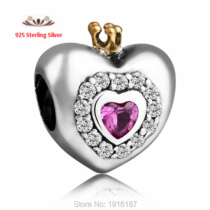 Fit Pandora Bracelets 2015 New 14K Gold Crown Pink Zirconia Princess Heart Charms 925 Sterling Silver Jewelry <br><br>Aliexpress