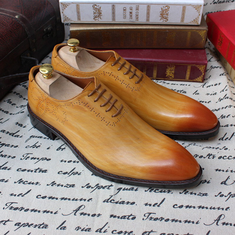 Luxury Goodyear Handmade Mixed Color Genuine Leather Mens Shoes Business Wedding Business Suit Shoes Customized Size 44<br><br>Aliexpress