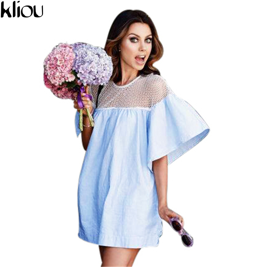 Kliou2017 summer beach dress ladies flare sleeve sexy short dresses women casual slim dress beachwear patchwork mesh cute dress