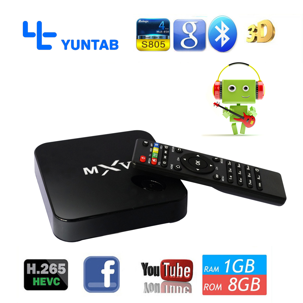 Free shipping MXV Quad Core Android TV BOX S805 1GB/8GB Cortex 1.5 GHZ Android 4.4.2 KODI WIFI Bluetooth H.265 HEVC Media Player(China (Mainland))