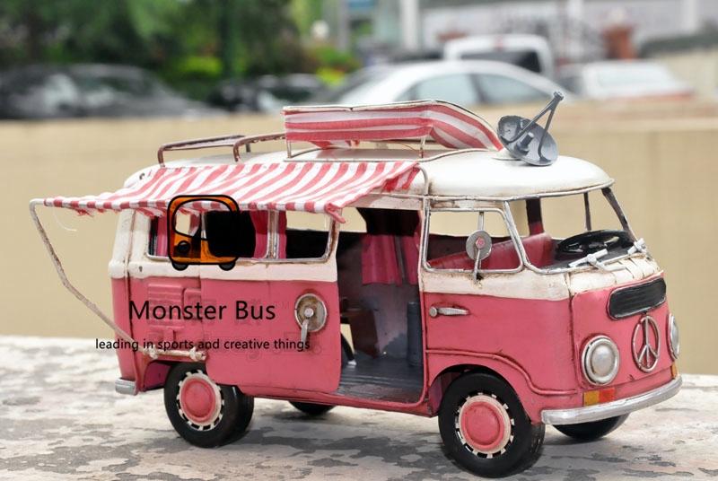 Cute Retro Classic Bus 100% Handmade Iron Sheet Model Motorhome Trailer 1:12 Metal Car Model Decoration Recreational Vehicle(China (Mainland))