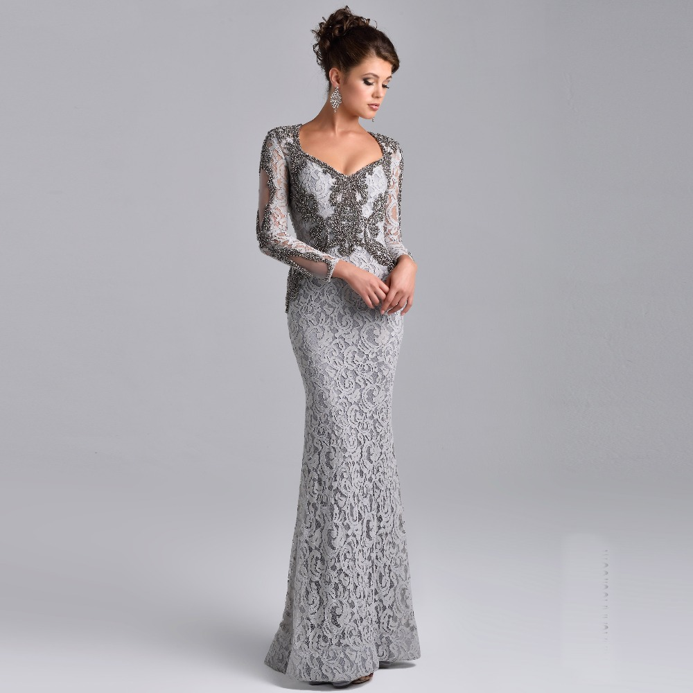 Lace long sleeves mermaid wedding mother dresses 2016 for Long sleeve beaded wedding dress