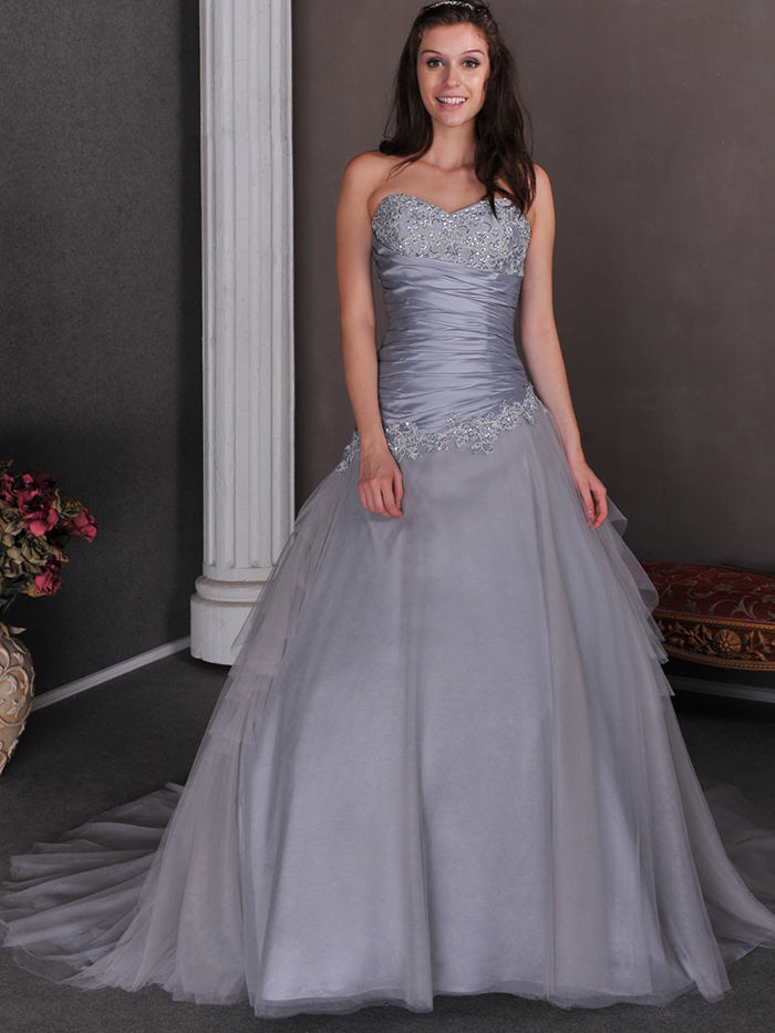 2015 cheap silver grey ball gown princess wedding dresses for Cheap princess wedding dress