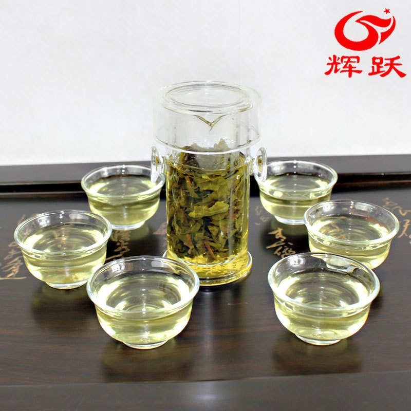 Freeshipping Glass tea set suits herbal tea set suits interaural buckle cup 7 piece Glass Tea