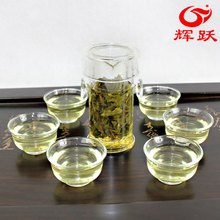 Freeshipping Glass tea set suits herbal tea set suits interaural buckle cup 7 piece Glass Tea Set