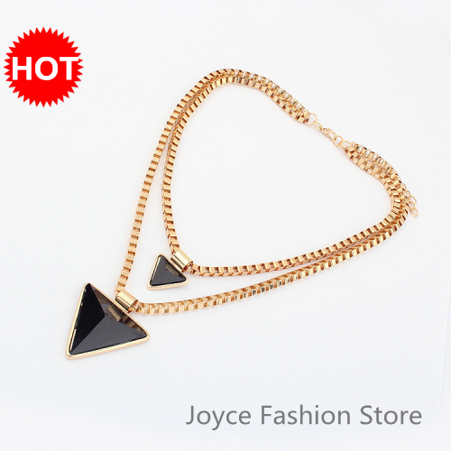 New 2015 Hot Statement Chunky Choker Necklaces,Punk Gold Plated Double Chains and Hearts Triangle Necklace,N28
