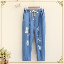 American Apparel Rushed Regular Appliques Pockets Straight Women Jeans 2016 Summer New Jeans Denim Sen Female Hole Pants Tide