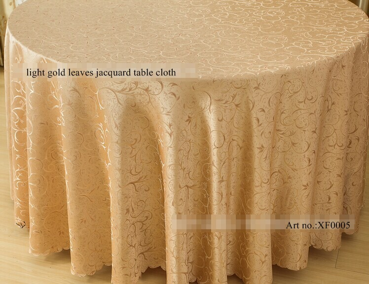 round 280cm polyester beige yellow tablecloth 112 inches gold tablecloths for wedding jacquard tablecloth on the table(China (Mainland))