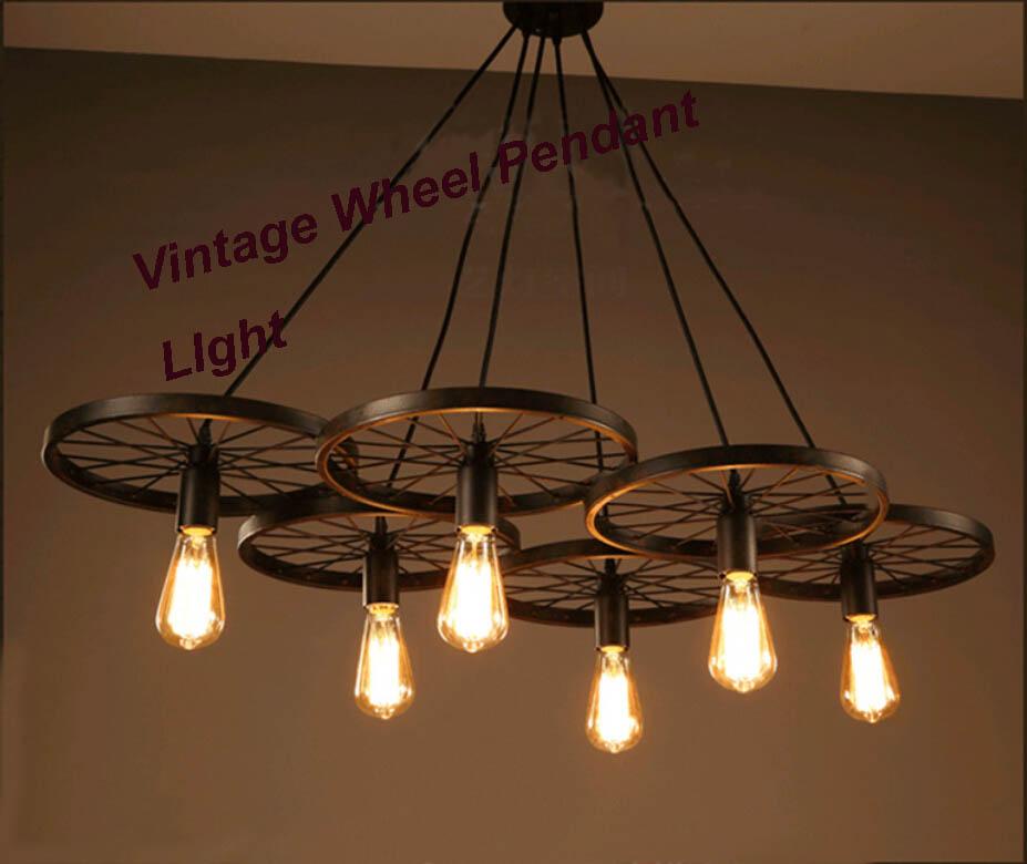 Webetop New Hot lustre Wheel Pendant Light Iron Vintage Living Room Bar Lamp LED Pendant Lights Novelty Indoor Lighting Lamps<br>
