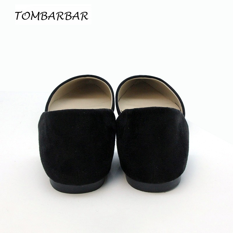 Flat Shoes Women Flock Rubber Casual Office Slip-On Pointed Toe Autumn D'Orsay Flats Solid Women Shoes Zapatos Mujer 1608 CC