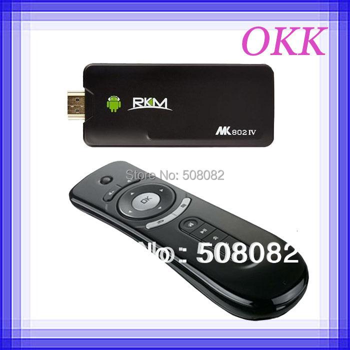 MK802 IV Rikomagic MK802IV Android 4.4.2 RK3188T Quad Core Mini PC TV BOX stick 1.4GHz 2GB RAM 8GB ROM + T2 fly air mouse(China (Mainland))