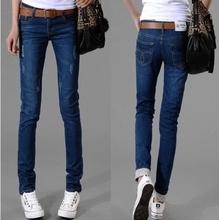 Hot sell 2015 Women fashion Elastic Jeans Female Mid Waist Slim Long Pencil Jeans Pants Plus Size S-7XL