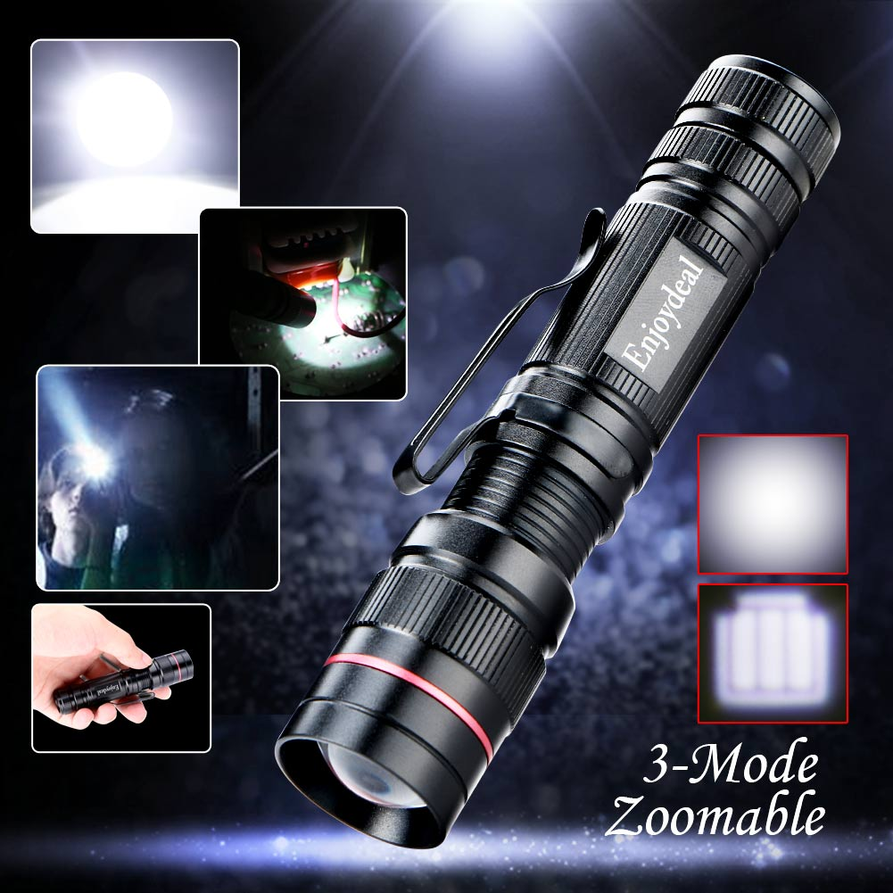 2016 Enjoydeal CREE Q5 LED 2000 Lumens Lamp Clip Mini Zoomable 3 modes Flashlight Torch Penlight Camp Light Black For AA