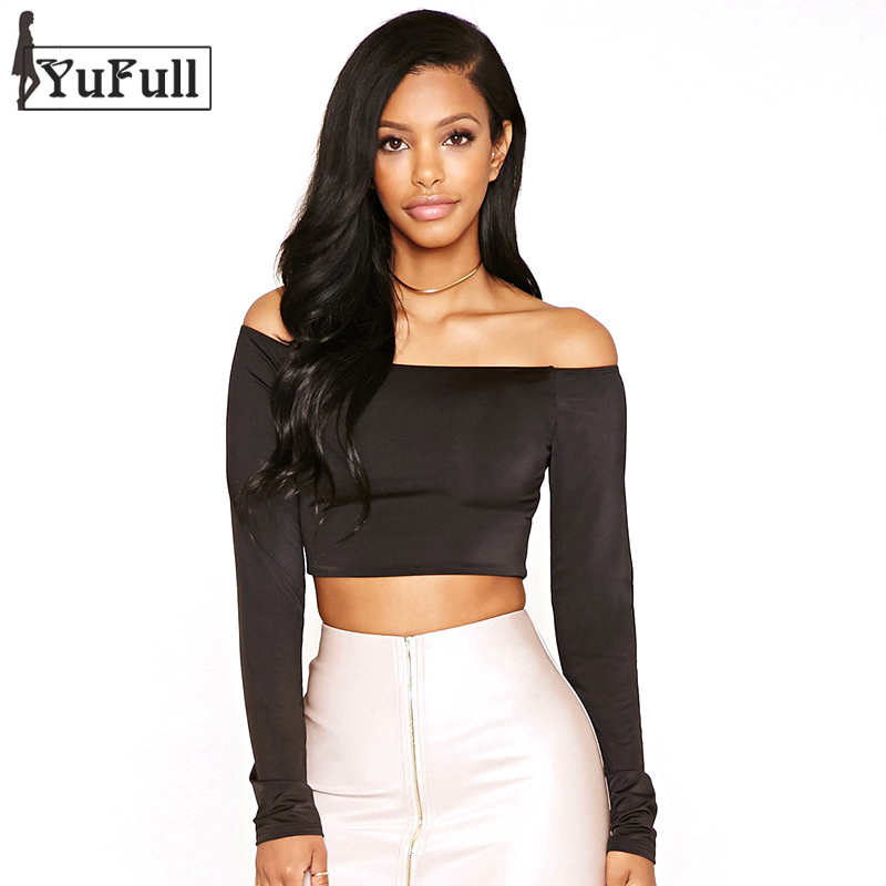 Cropped Top Women T Shirt Fashion 2016 Summer Sexy Solid Black T-shirt Femme Crop Tops Long Sleeve Plus Size Tee Shirt Femme(China (Mainland))