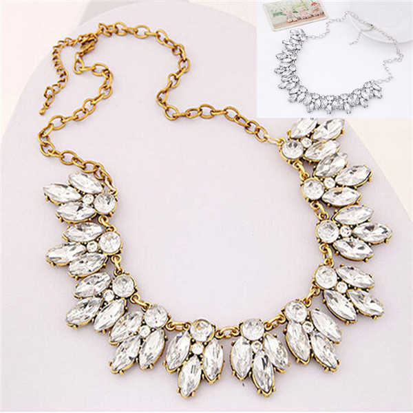 Fashion Jewelry Women Bohemian Crystal Necklace Chain Choker Bid Statement Chunky Necklace