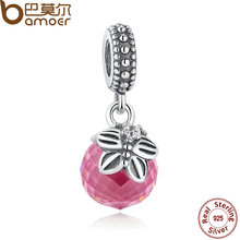 BAMOER 925 Sterling Silver Morning Butterfly, Pink & Clear CZ Pendant Charm Fit Bracelet Necklace Jewelry PAS258(China (Mainland))