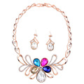2015 Wholesale Colorful Rrose Gold Crystal Jewelry Sets Necklace And Earrings For Women Wedding