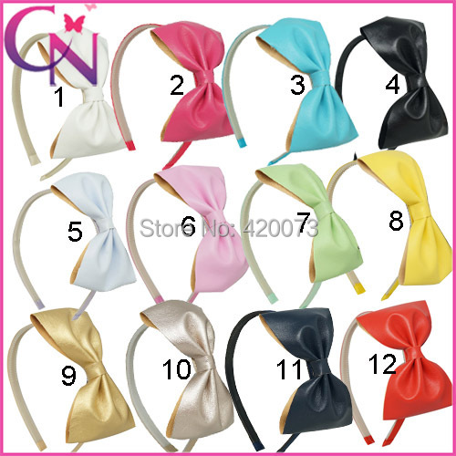 Free Shipping 24 Pcs/lot Baby Solid Leather Hairbow Hairbands,Girls Handmade Soft Bow Headband With Teeth,Children Hair Band(China (Mainland))