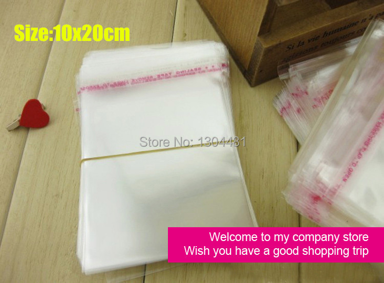 10x20cm Clear Ecofriendly Self Adhesive Seal Plastic Bag for clothing/ornament OPP Poly Bag Wholesale Packaging Bag 100Pcs/Lot(China (Mainland))