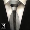 Top Luxury Skinny Tie New Designers Novelty Necktie Silver with Black Dots Stripes High Quality Woven