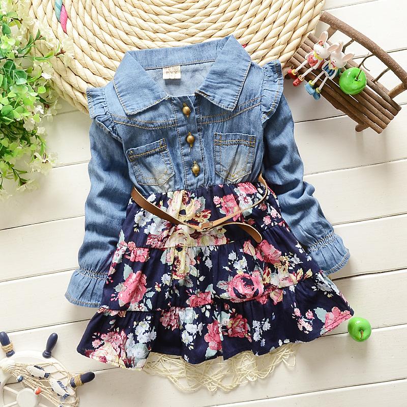 New autumn 2015 cowboy Patchwork Girl dress flower baby patry dress Girls long sleeve dress children floral dress for girls(China (Mainland))