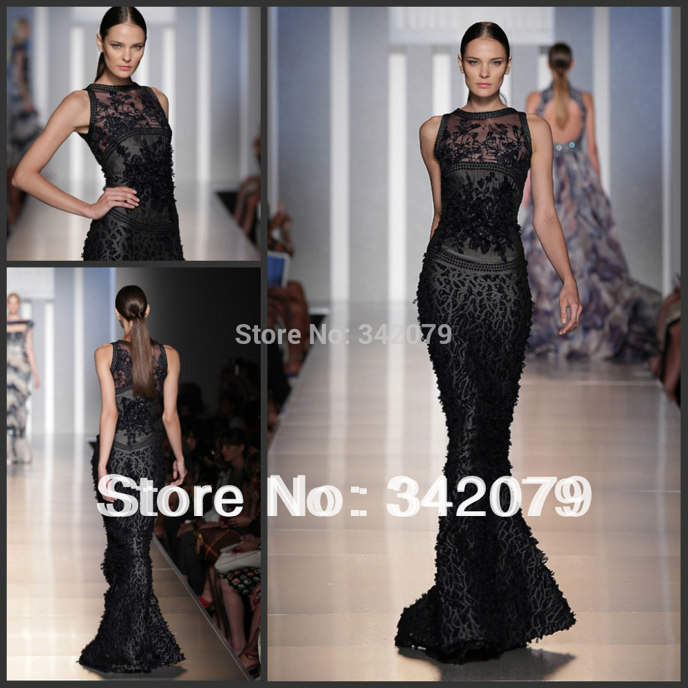 ph09439 tony ward Midnight blue and grey made of knitted Mousseline haute couture black mermaid evening dress(China (Mainland))