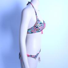 2015 Hot Sale triangl swimwear bikini V neckline swimsuit Steel Prop Gather Spandex Monokini Leopard Low