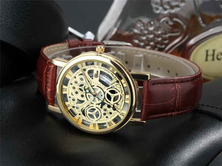 2015 Relogio Male l Luxury Brand Leather Band Skeleton quartz watch men women fashion WristWatch reloj hombre(China (Mainland))