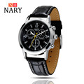 Nary Watches Men Business Fashion Leather Wristwatch Waterproof Watches Quartz Watch Personality Casual Relogio W0806