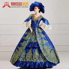 HOT!! Global FreeShipping 18th Century Marie Antoinette Victorian Period Renaissance Rococo Belle Dark Blue Dress