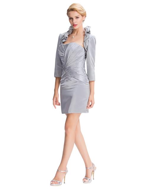 Грейс карин 2016 серебряная мать невесты гольфы мать невесты платья с длинными куртка ...