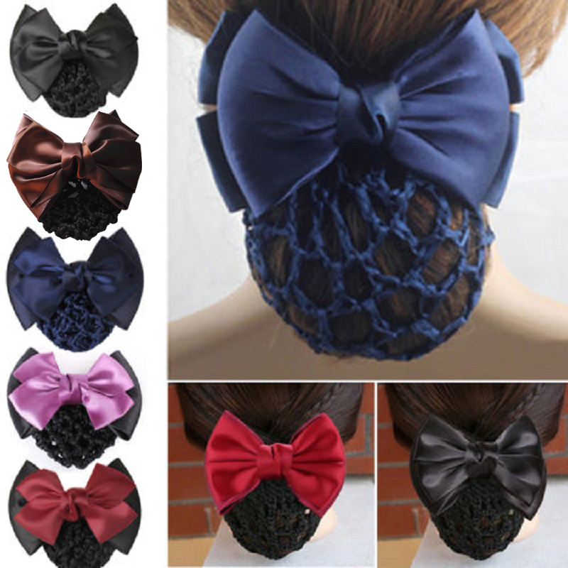 1pcs Stylish Solid Color Satin Bow Barrette Lady Hair Clip Cover Bowknot Bun Snood Women Hair Accessories(China (Mainland))