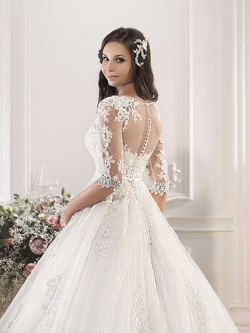 New Arrival Ball Gown Wedding Dress 2016 Sweetheart Half Sleeve Robe de mariage Court Train Applications Lace Wedding Dresses