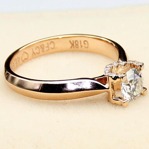 Simple 14K Rose Gold OX-head Shaped Ring 0.25 Carat Moissanite Lab Grown Diamond Ring For Women Engagement Ring Wedding Ring<br><br>Aliexpress