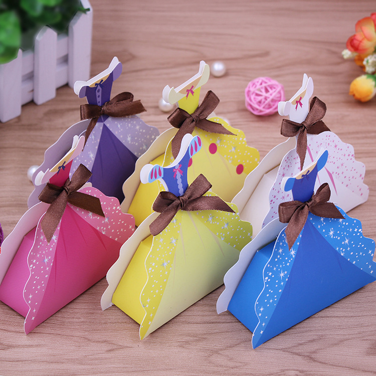Child Birthday Party Supplies Princess Skirt Folding Gift Box Candy Box wedding Christmas favors gifts(China (Mainland))