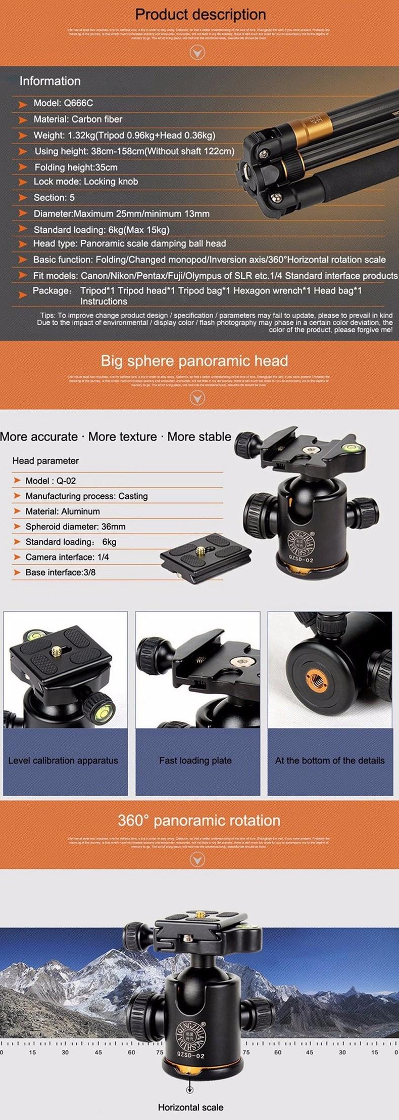 ถูก QZSD Q666Cมืออาชีพคาร์บอนไฟเบอร์ขาตั้งกล้องและMonopod Proสำหรับกล้องDSLR/พกพาเดินทางขาตั้งกล้องแม็กซ์โหลดไป15กิโลกรัม