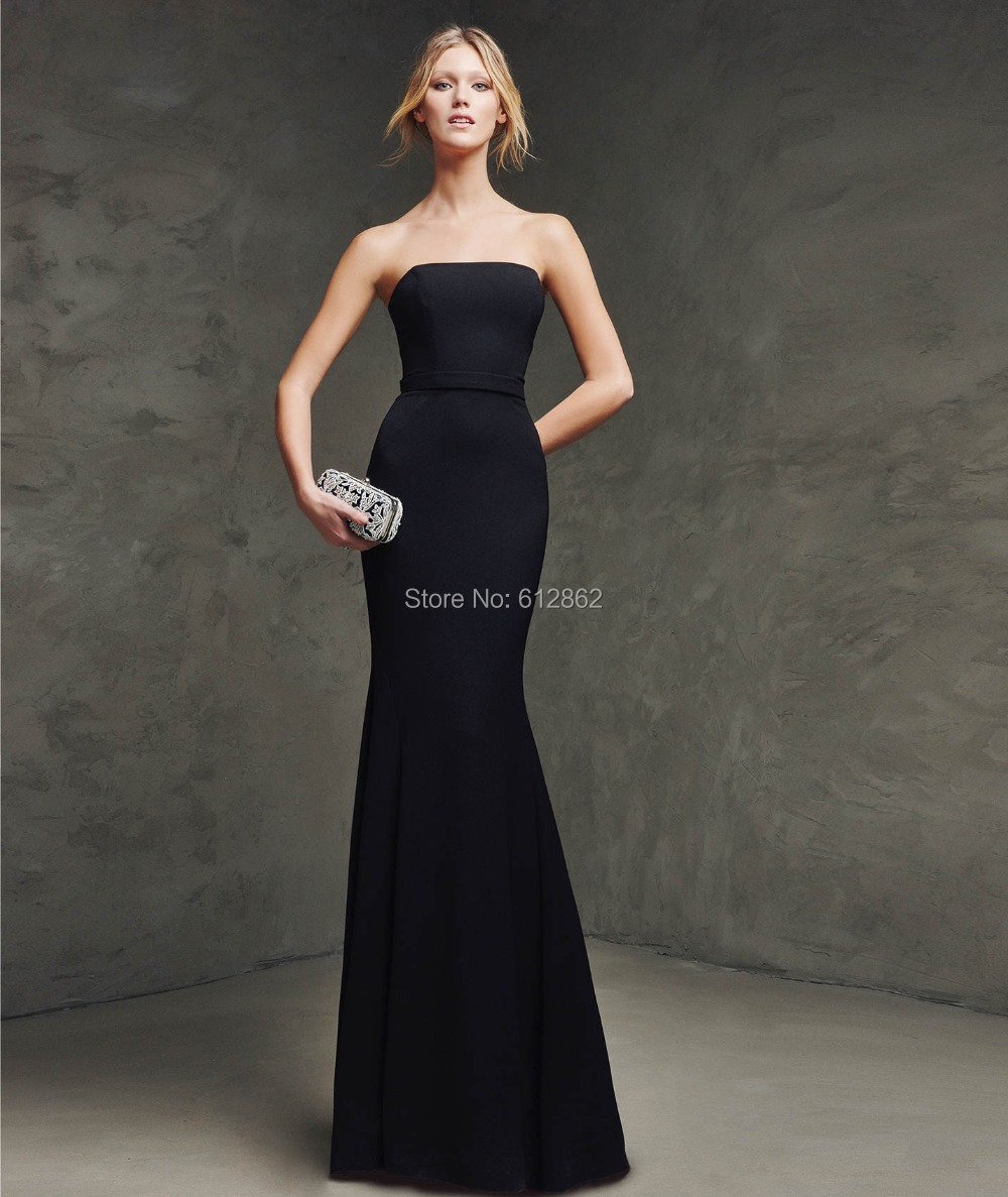 Long Black Strapless Dresses