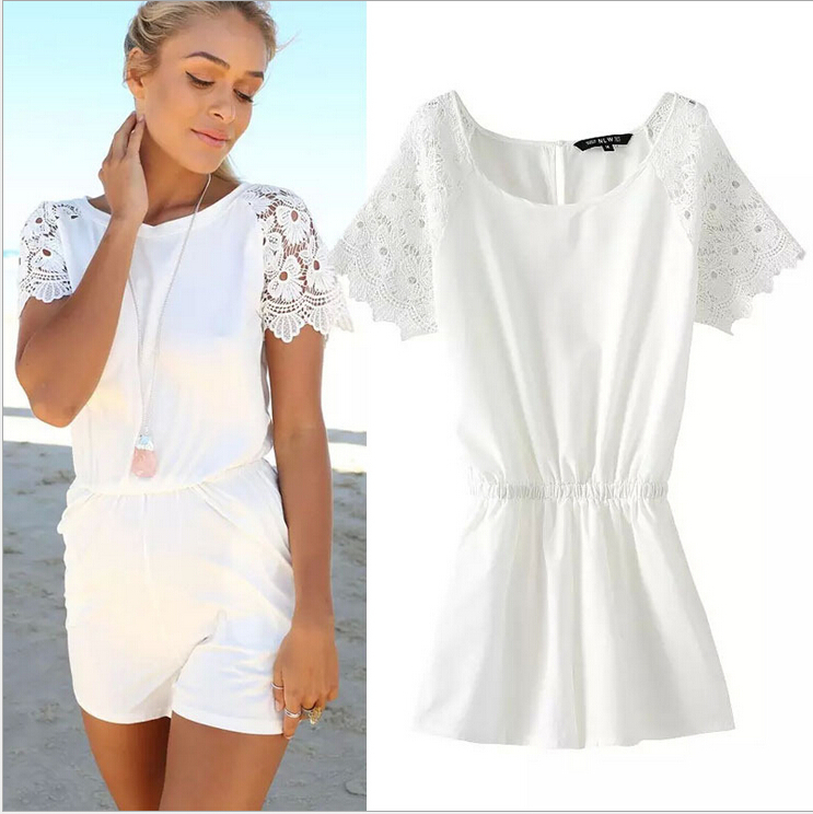 2015 rompers womens jumpsuit Lady summer elegant Hot pants playsuits lace patchwork Short sleeve bodysuit monos overalls - BeWin Women's Fashion store