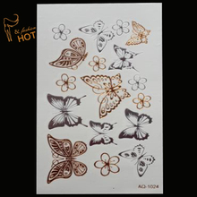 Body art chain gold tattoo temporary tattoo tatoo flash tattoo metallic tattoo temporary Butterfly tattoost stickers