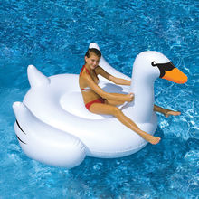 White New Summer Lake Swimming Water Lounge Pool Kid Giant Rideable Swan Inflatable Float Toy Good Quality(China (Mainland))