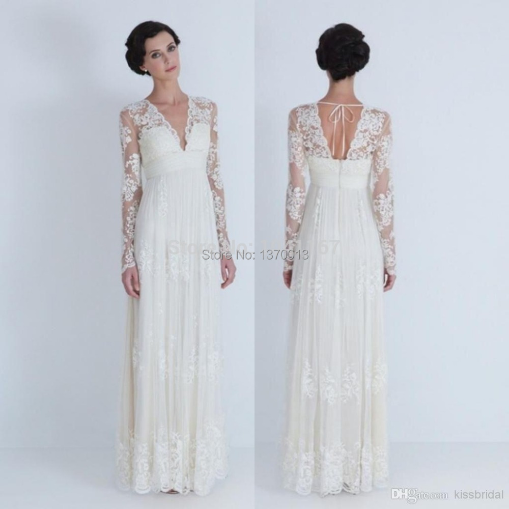 Hot sale2014 Sheer Wedding Dresses V-neck Long Sleeve Pleated Appliqued Lace A-Line Floor-Length Tulle Bridal Gowns - CC wedding dress store