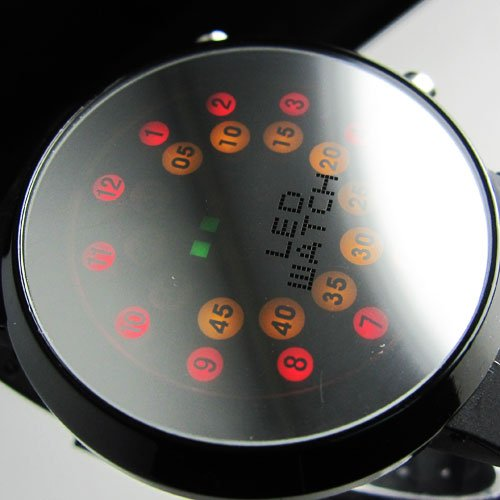 !!!Creative Mrror face LED Dot Matrix Men's Sport Watch freeship(China (Mainland))