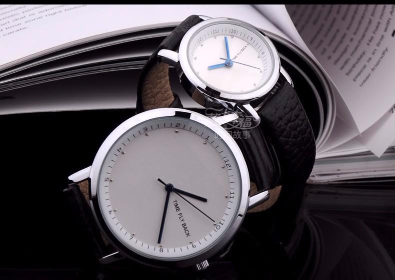 Бренд Против часовой стрелки Мода Классические Случайные и Бизнес Часы Мужчины Кварцевые Наручные Часы Кожаный Ремешок Водонепроницаемый Индивидуальные Для Подарка